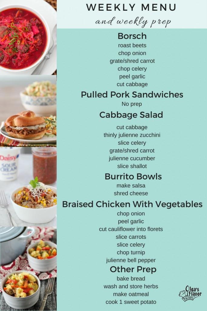 Weekly Menu Plan With Ingredient List and Prep List - Olga\u0027s Flavor