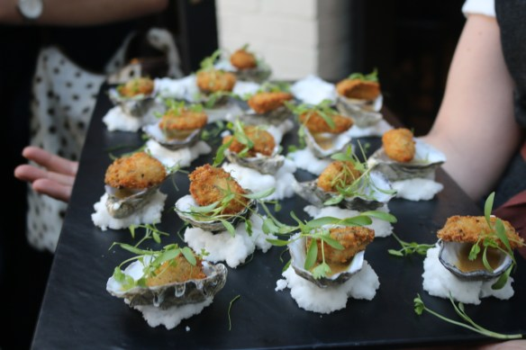 The Flying Duck Hotel - Crumbed oyster w tigers milk and kiffir lime salad