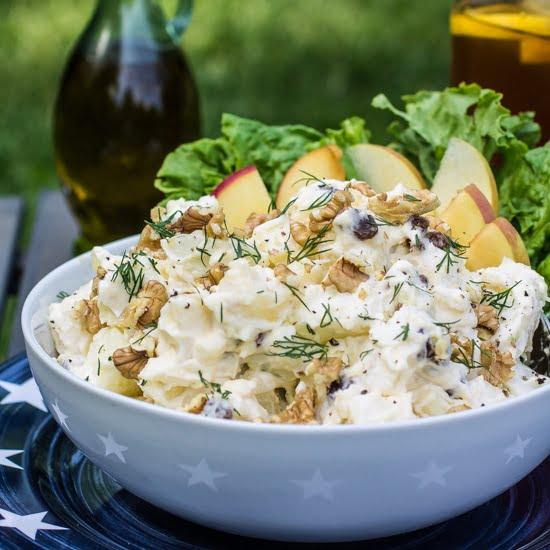 Creamy Potato Salad (with Apples, Raisins and Walnuts ...