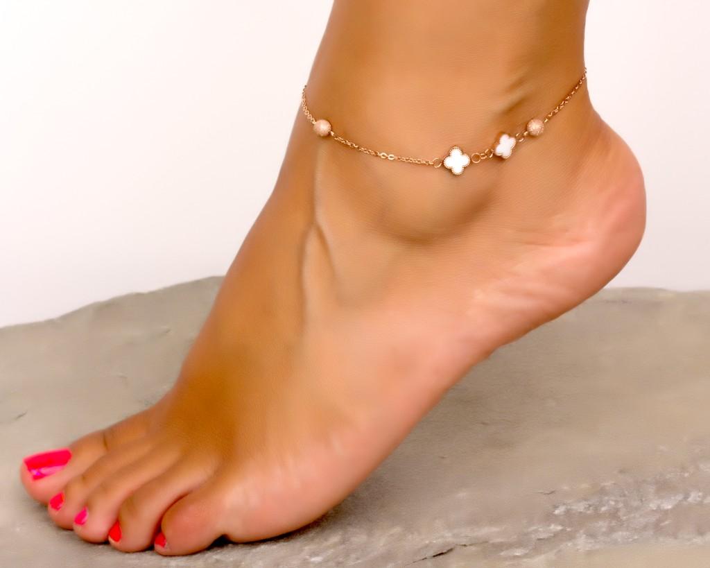 Rose Gold Ankle Bracelet Clover Bracelet Stainless