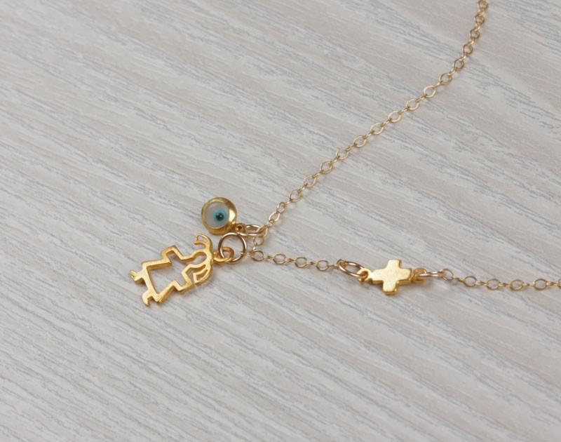 New Mom Necklace Evil Eye Necklace Tiny Sideways Cross