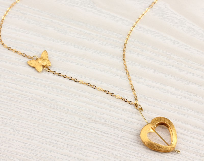 Heart Necklace Gold Long Necklace Butterfly Necklace