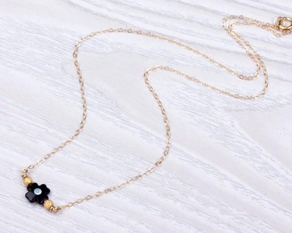 Tiny Evil Eye Necklace Black Cross Necklace Protection