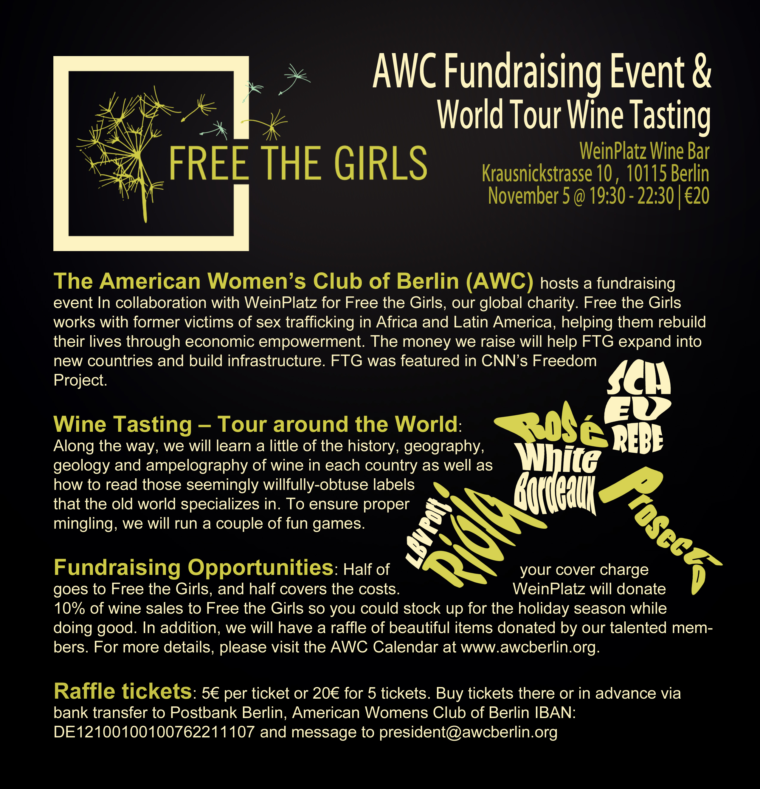 Fundraising event in Berlin for Free the Girls with great raffle