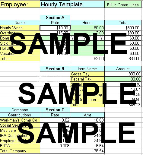 Excel Payroll Spreadsheet for QuickBooks - excel templates for payroll