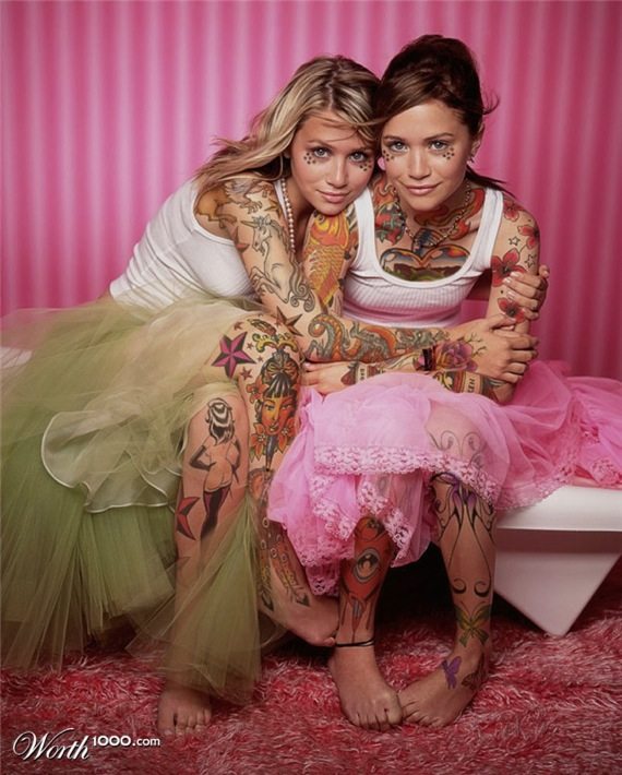 Very Cute Baby Twins Wallpaper If Celebrities Had Full Body Tattoos 33 Pics
