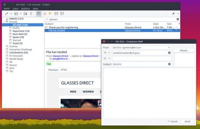 Trojita Desktop Email Client on Ubuntu Linux