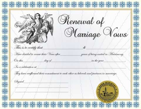 Certificates  Renewal of Vows Certificate - Minister Ordainment