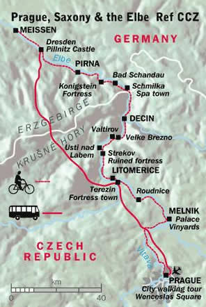 Map of the route of my cycling trip from Prague to Meissen