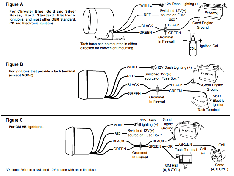 wiring diagram for tachometer