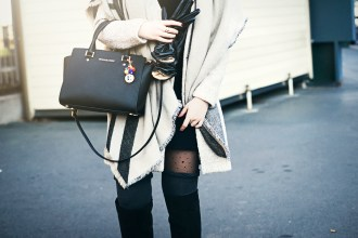 Beige coat maxi scarf over-the-knee socks and boots