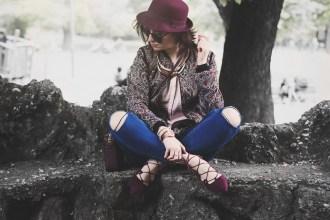 Lace up shoes purple rose Primark