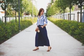 Navy Culotte pants and striped shirt Sammydress