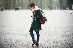 Rain boots and a green coat