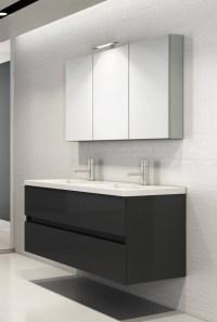 Badmbel-Set mit Doppelwaschbecken in120 cm grau Hochglanz ...