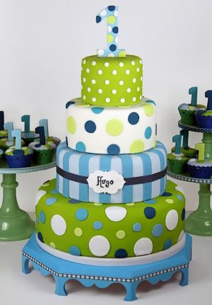 First Boy Birthday - blue and green birthday party