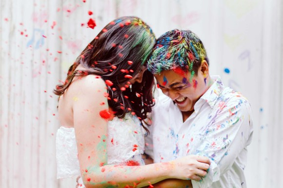 Engagement Session Using Colored Powder