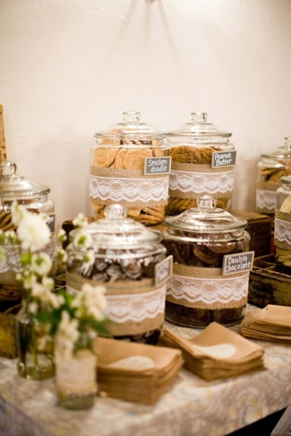 burlap and lace dessert jars