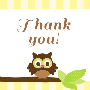 Owl Party Printables Thank You tags