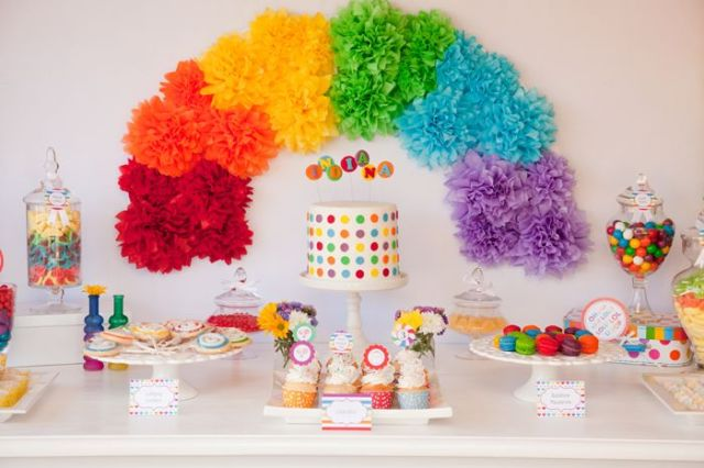 rainbow pompoms birthday dessert table