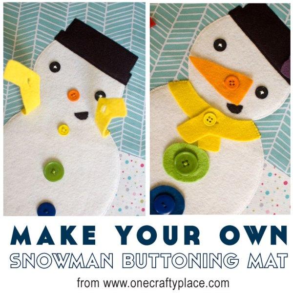 Snowman Buttoning Mat