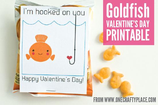 image regarding Goldfish Valentine Printable called Goldfish Valentines Working day Printable - 1 Cunning Room