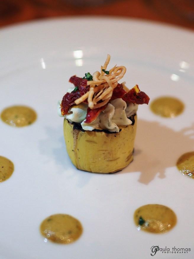Vegetarian Option:  Stuffed Roasted Yellow Squash, with Herb Mascarpone, Sundried Tomato, Tomato-Basil Aioli, Crispy Wonton Salad