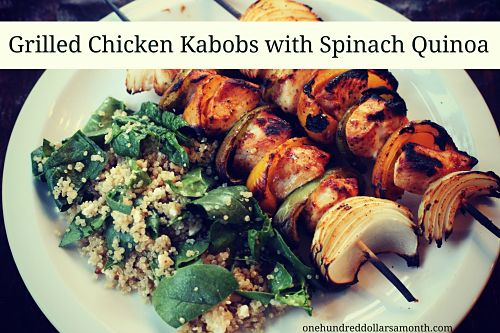 recipe grilled chicken kabobs with spinach quinoa