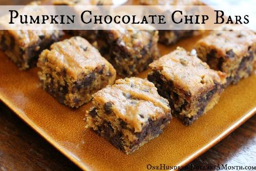 Easy Vegan Recipes – Pumpkin Chocolate Chip Bars