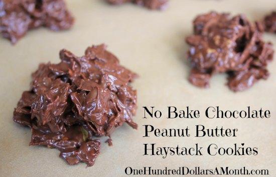 No Bake Chocolate Peanut Butter Haystack Cookies
