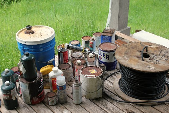 rusty old paint cans