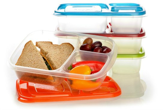 EasyLunchboxes 3-compartment Bento Lunch Box Containers Set of 4. BPA-Free. Easy-Open Lids