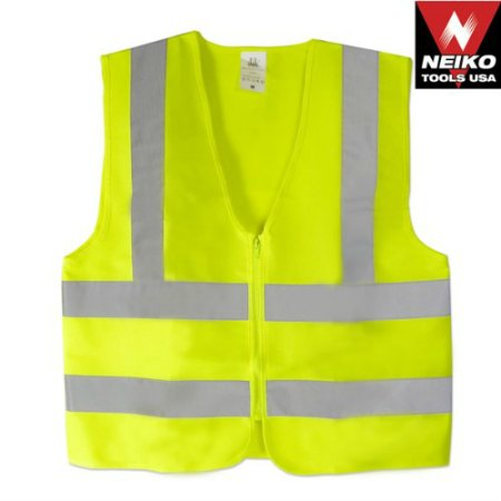 High Visibility Neon Yellow Zipper Front Safety Vest with Reflective Strips