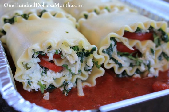 Freezer Meals - Spinach Lasagna Rolls
