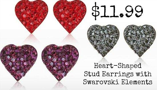 Heart-Shaped Stud Earrings with Swarovski Elements