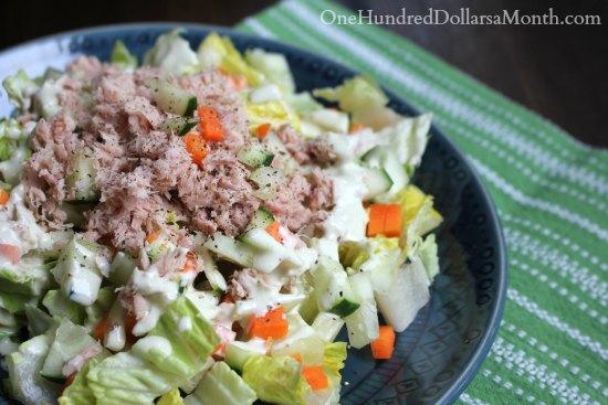 Tuna Salad Recipe with Lemon, Cucumbers and Carrots