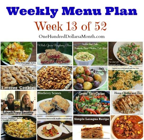 Weekly Meal Plan – Menu Plan Ideas Week 13 of 52