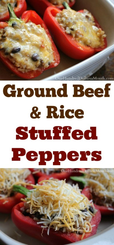 Ground Beef and Rice Stuffed Peppers - One Hundred Dollars a Month
