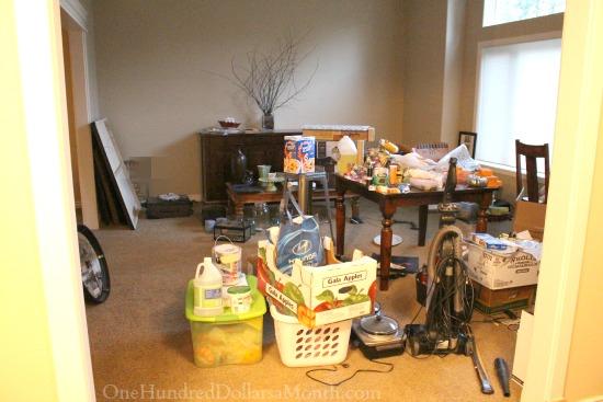 messy family room