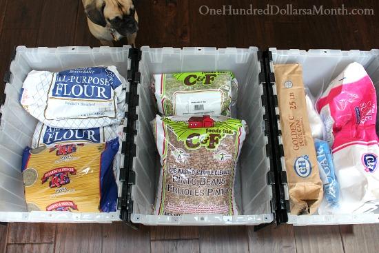 Storing Bulk Foods Flour, Sugar Rice, and Beans