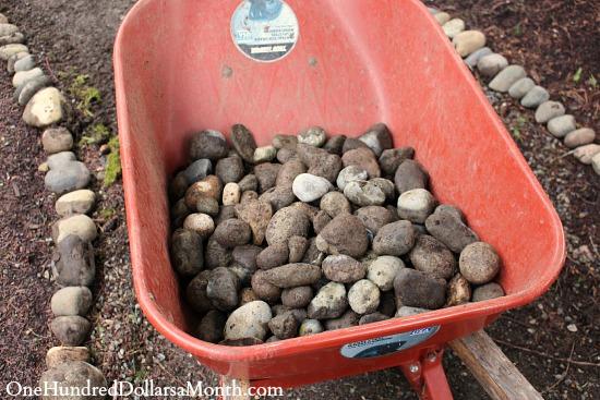 wheelbarrow with rocks