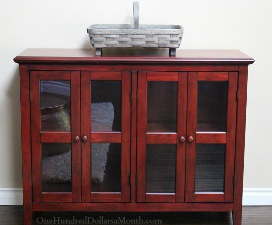 red costco entertainment cabinet
