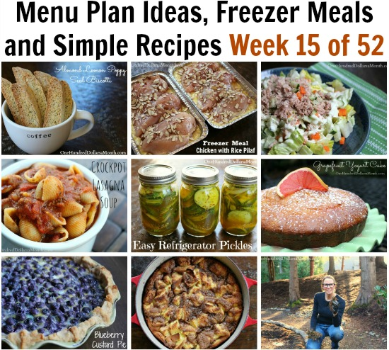 Menu Plan Ideas, Freezer Meals and Simple Recipes