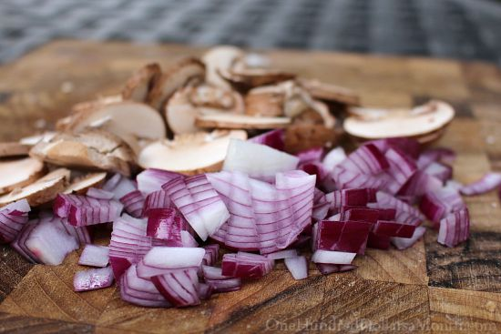 red onions and mushrooms