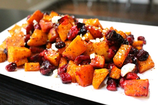 Roasted Butternut Squash with Feta and Cranberries