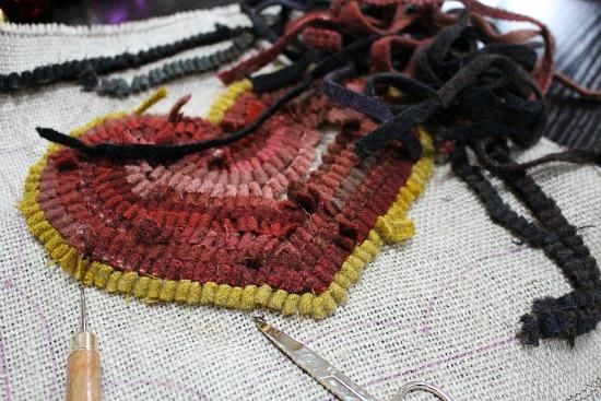 hooked rug heart