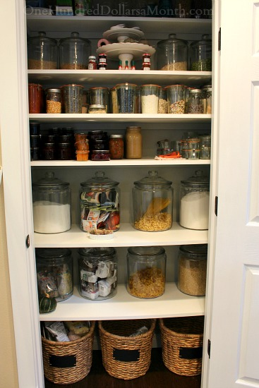 white pantry pictures with glass jars
