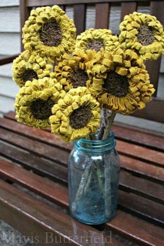 primitive hooked rug sunflowers