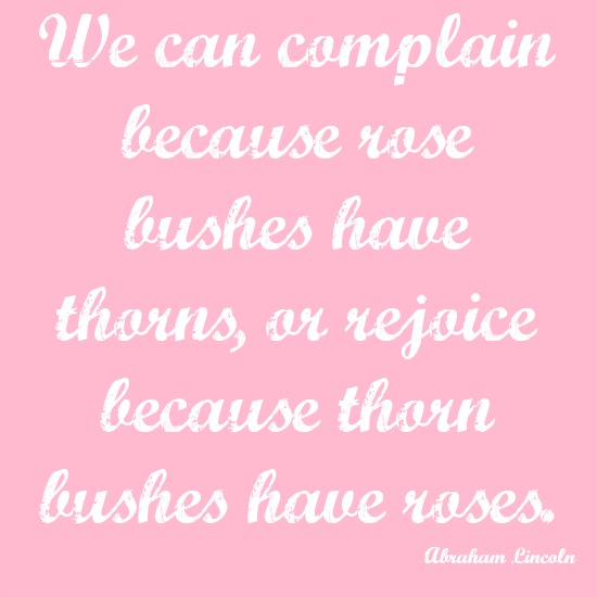 quotes - we can complain because rose bushes have thorns, or rejoice because thorn bushes have roses