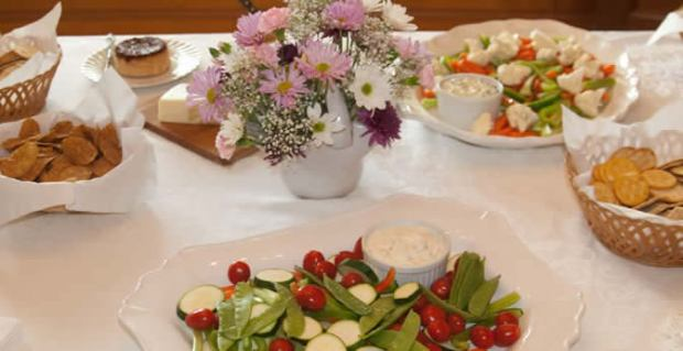 hors d'oeuvres at an intimate wedding